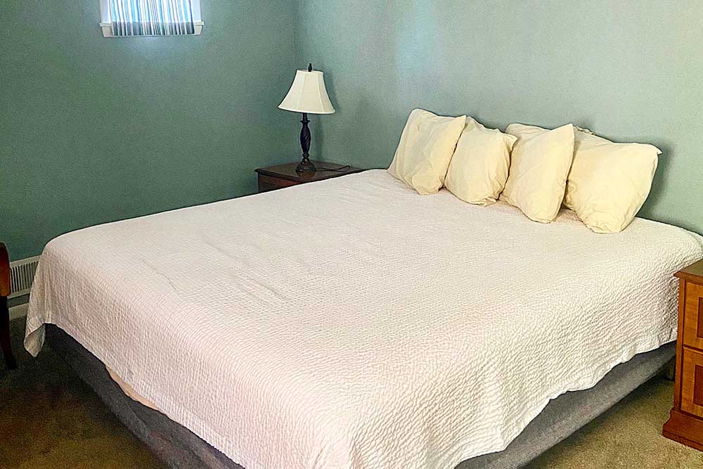 queen bed with pillows in bedroom