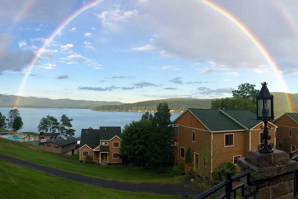 Rainbow over lake