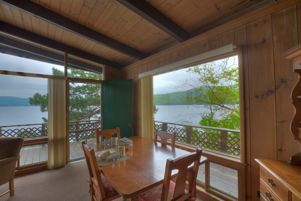 View from dining area out onto lake