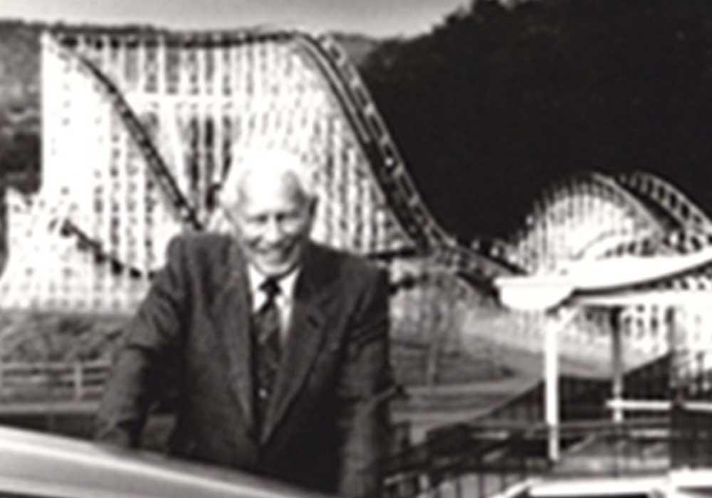 Charles Wood In front to roller coaster