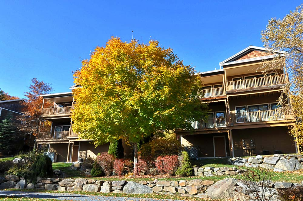 Townhome exterior during the fall