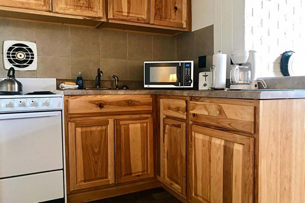 kitchen with wood cabinets