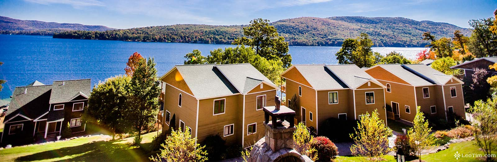 Townhomes overlooking lake george on sunny day