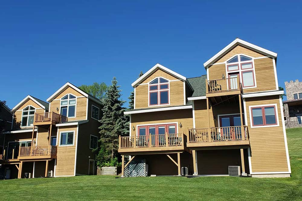 Townhome exteriors with balconies