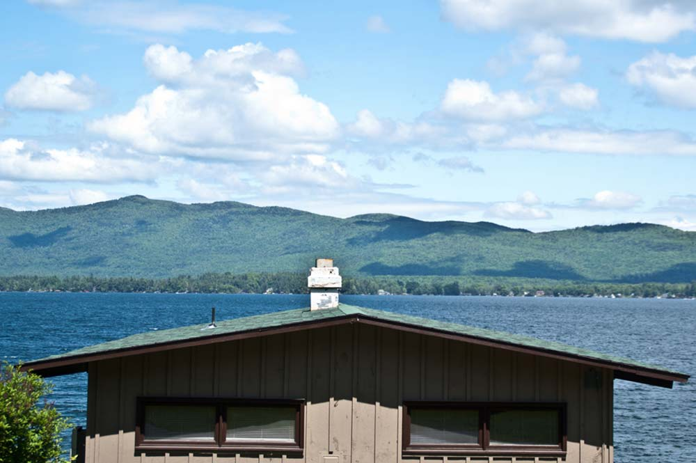 looking out on Lake George an surrounding mountains